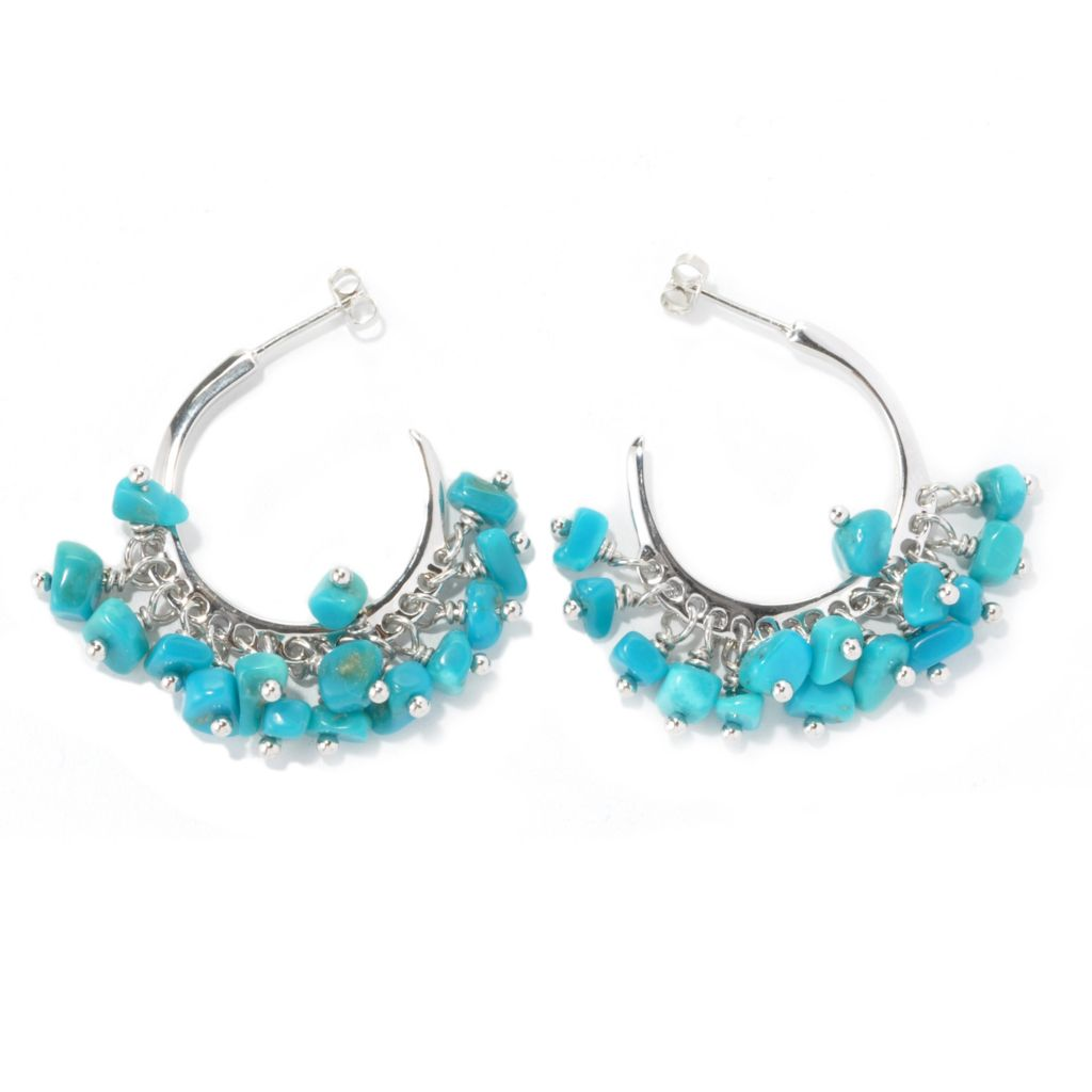 "134-656 - Elements by Sarkash Sterling Silver & Brass Sleeping Beauty Turquoise 1.5"" Hoop Earrings"