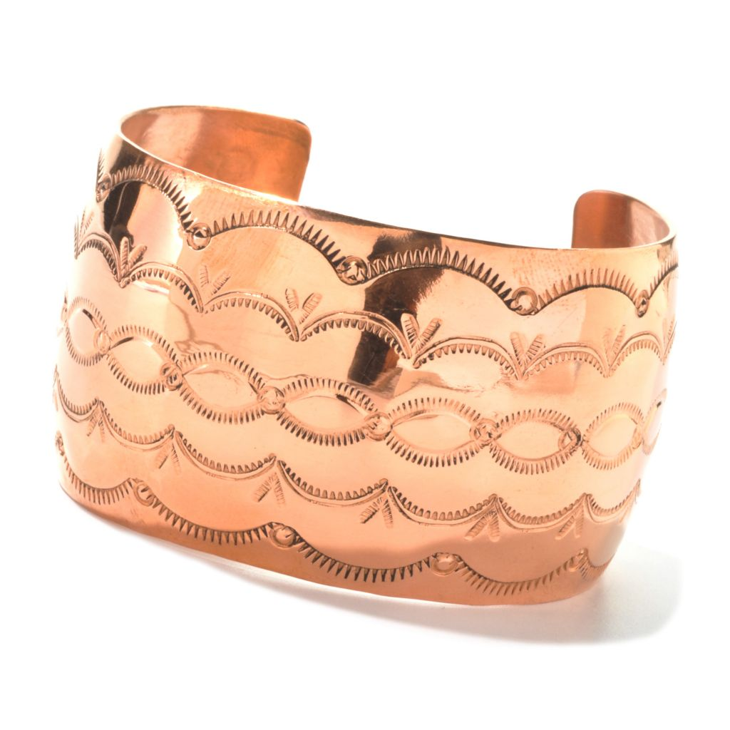 "134-657 - Elements by Sarkash Copper 6.75"" Polished & Etched Cuff Bracelet"