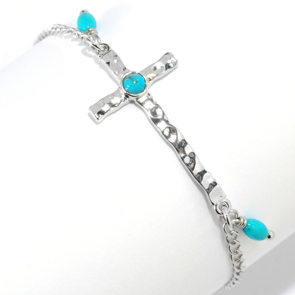"134-665 - Elements by Sarkash 7.25"" Turquoise Sideways Cross Hammered Bracelet"