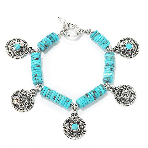 134-666 - Elements by Sarkash 7.75'' 8mm Turquoise Disk Beaded & Dangle Station Bracelet