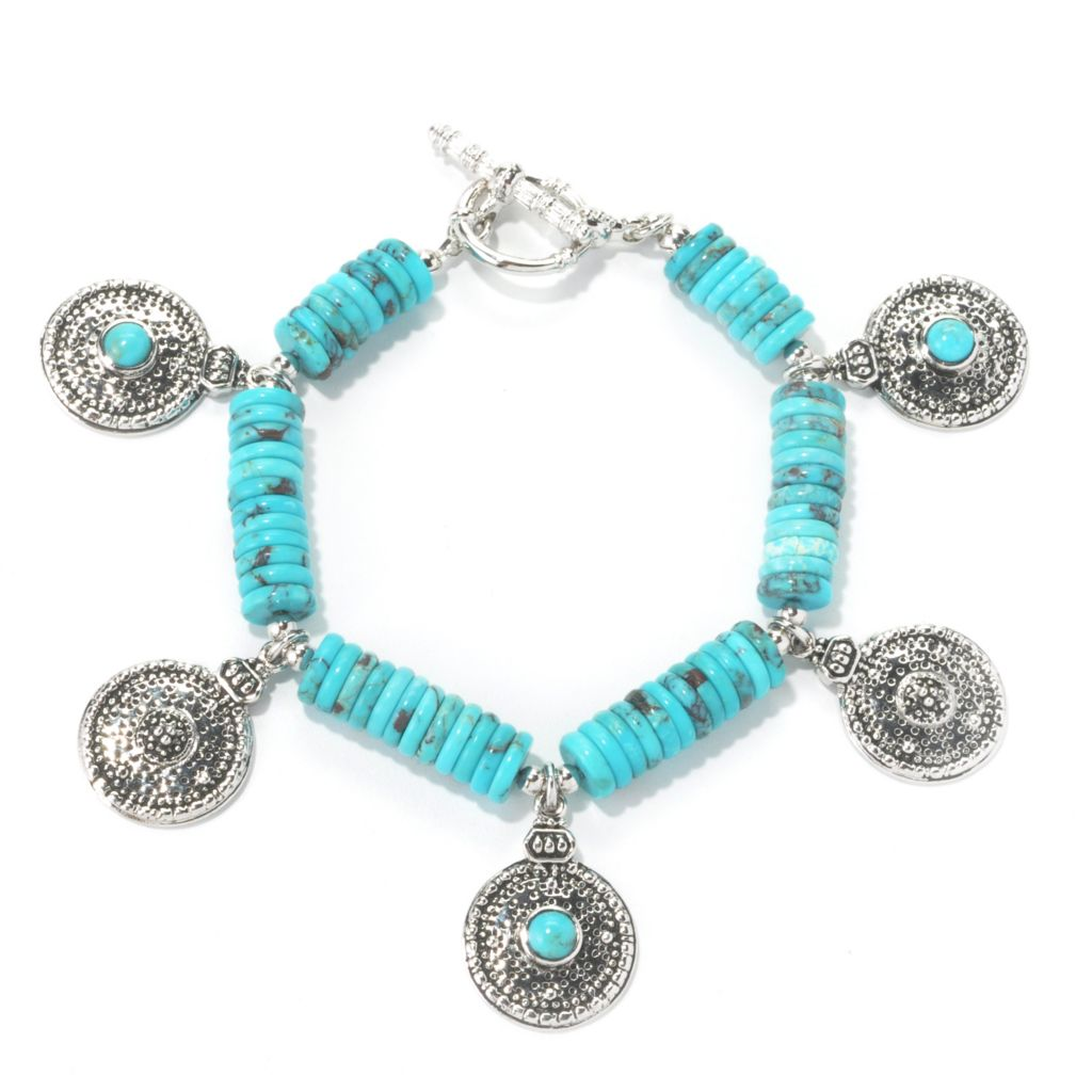 "134-666 - Elements by Sarkash 7.75"" 8mm Turquoise Disk Beaded & Dangle Station Bracelet"