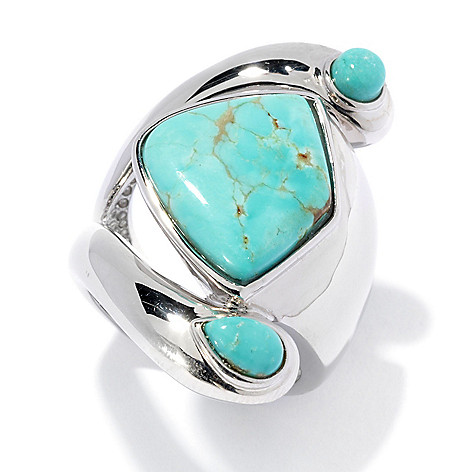 134-667 - Elements by Sarkash 16 x 14mm #8 Turquoise Split Shank Ring