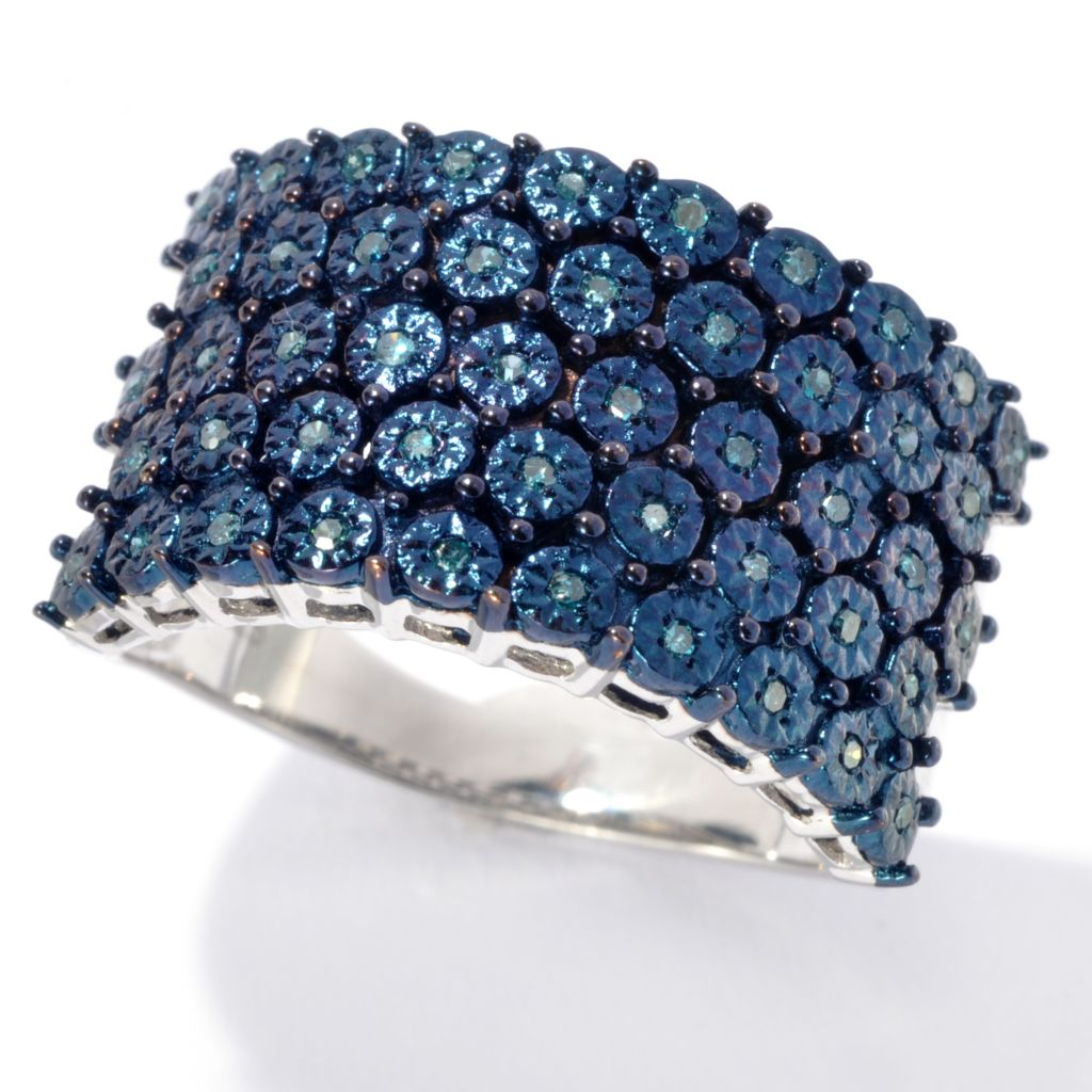 134-671 - Diamond Treasures Sterling Silver 0.14ctw Fancy Color Diamond Illusion Wide Ring