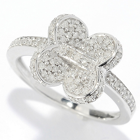 134-675 - Diamond Treasures Sterling Silver 0.32ctw Diamond Butterfly Band Ring