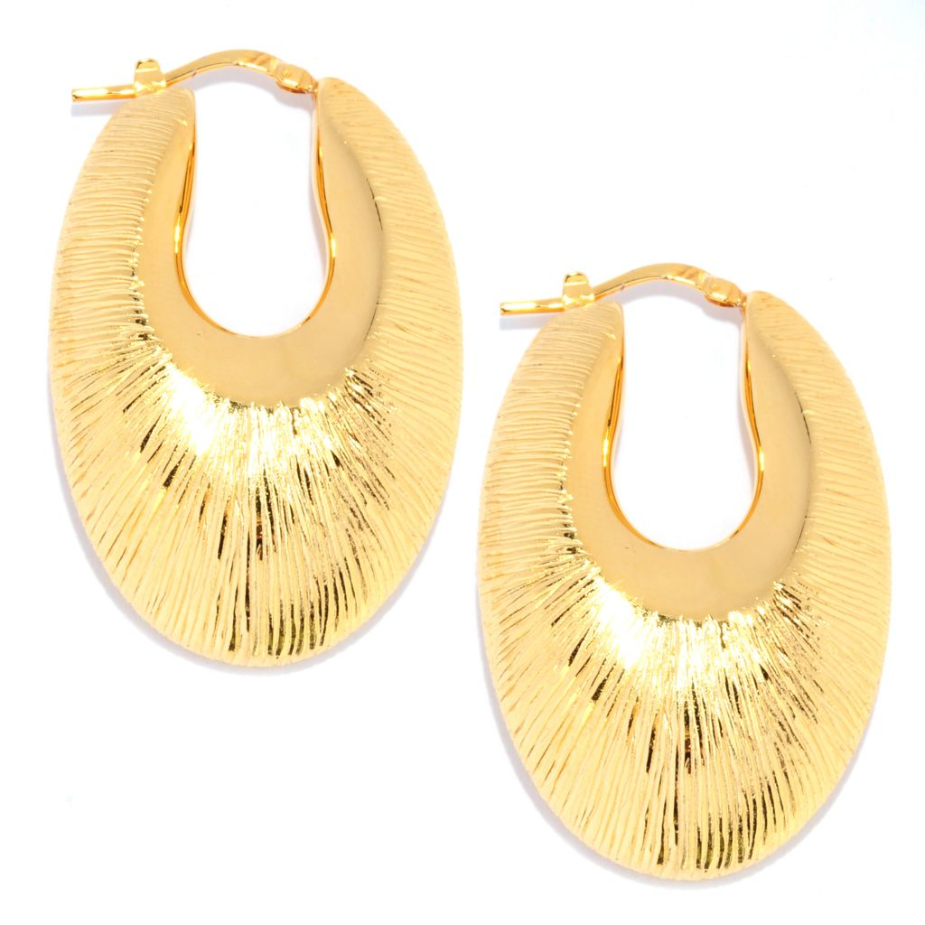 "134-684 - Toscana Italiana Gold Embraced™ 1.5"" Brushed Elongated Hoop Earrings"