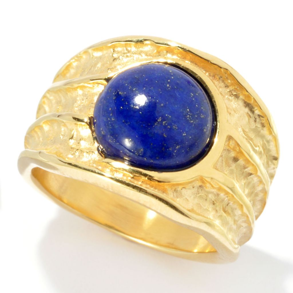 134-686 - Toscana Italiana Gold Embraced™ 10mm Lapis Polished & Hammered Ring