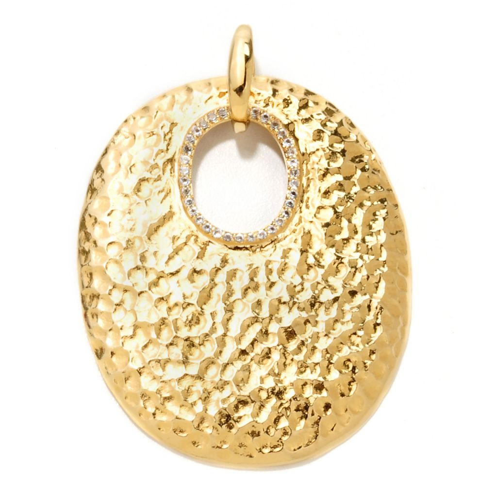 134-692 - Toscana Italiana Gold Embraced™ White Topaz Hammered Medallion Pendant