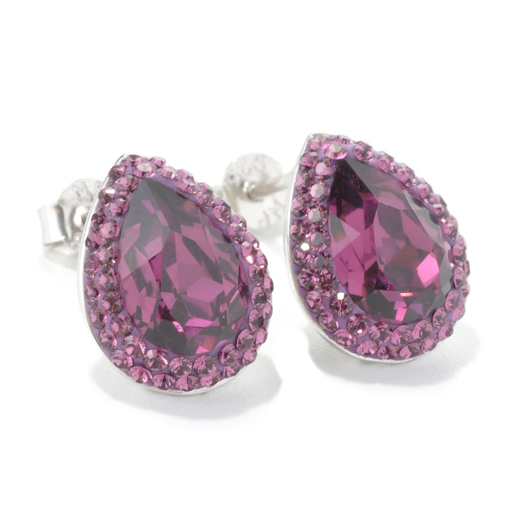 134-695 - Adaire™ Sterling Silver Pear Shaped Halo Stud Earrings Made w/ Swarovski® Elements