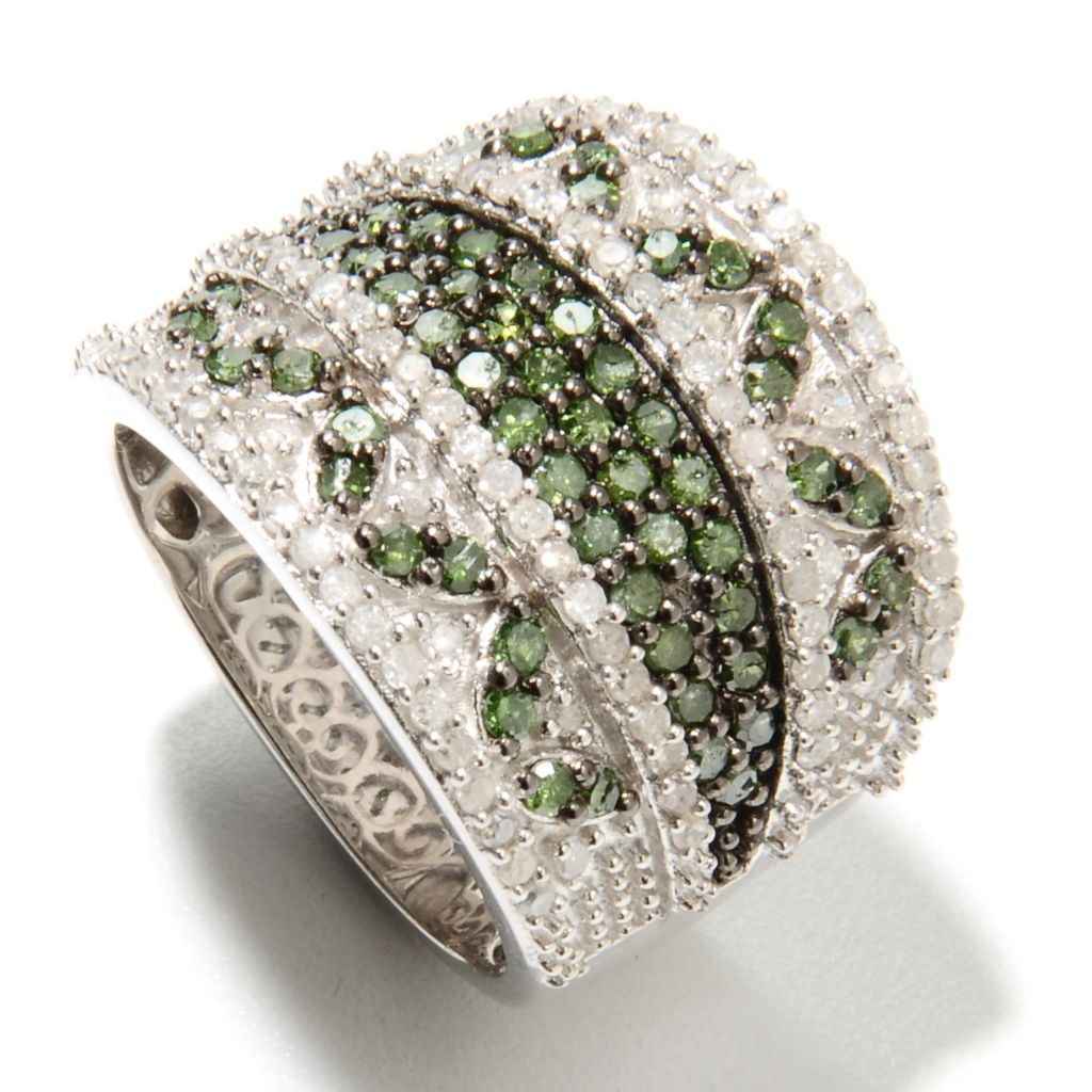 134-697 - Diamond Treasures Sterling Silver 1.53ctw Green & White Diamond Wide Band Ring