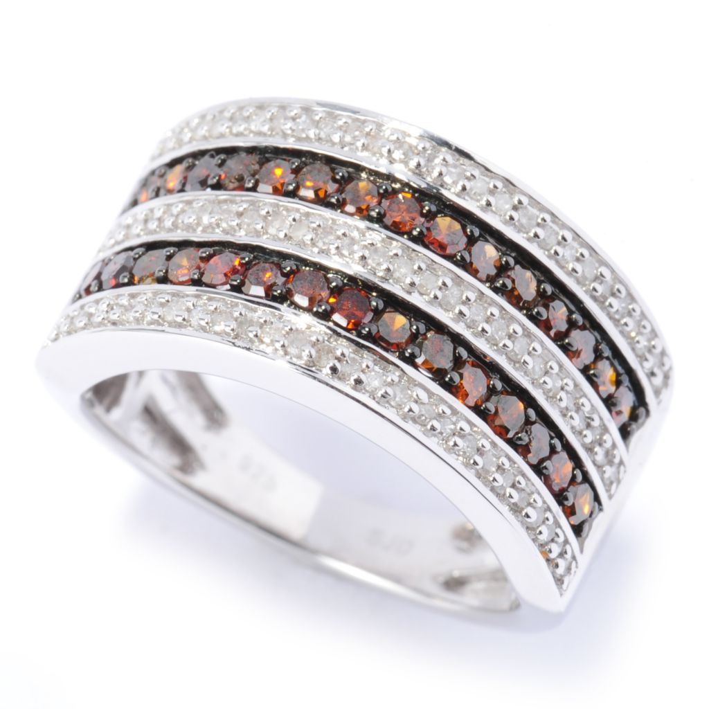 134-735 - Diamond Treasures Sterling Silver 0.72ctw White & Fancy Color Diamond Five-Row Ring