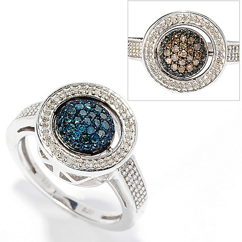 134-737 - Diamond Treasures Sterling Silver 0.45ctw Blue, Champagne & White Diamond Flip Ring