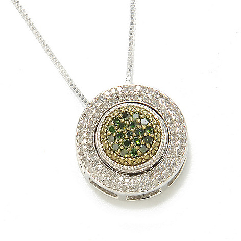 134-738 - Diamond Treasures Sterling Silver 0.53ctw Fancy Color Diamond Flip Pendant w/ Chain