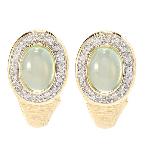 134-740 - Michelle Albala Oval Gemstone & White Sapphire Textured Earrings w/ Omega Backs