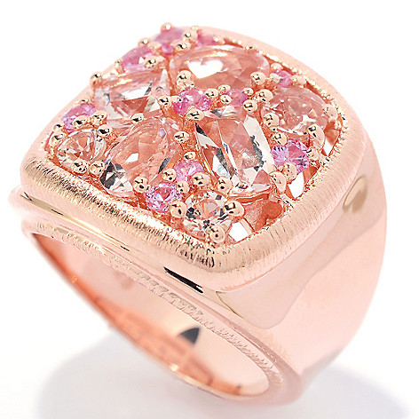 134-741 - Michelle Albala 2.01ctw Morganite & Pink Sapphire Brushed Square Cigar Band Ring