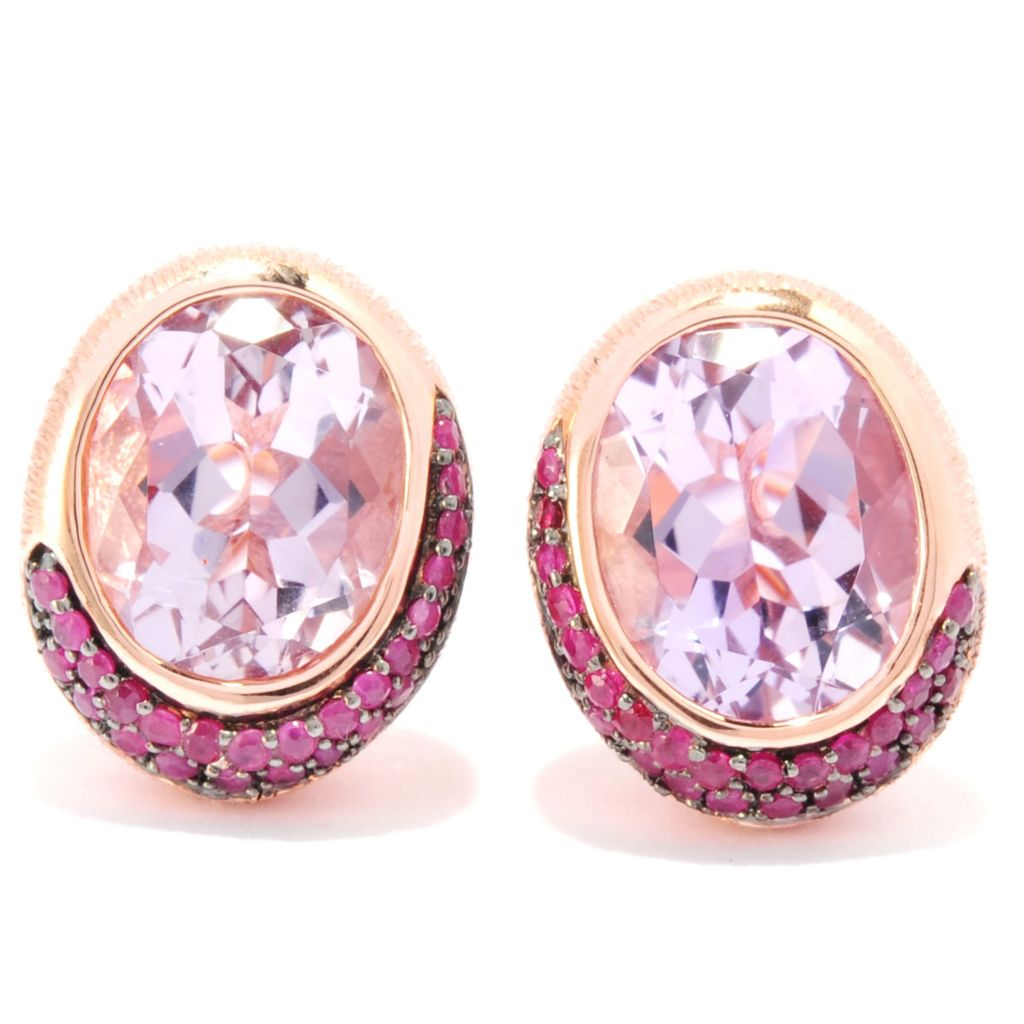 134-742 - Michelle Albala Multi Gemstone Textured Stud Earrings w/ Omega Backs