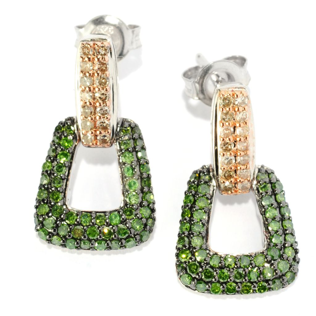 134-745 - Sterling Silver 0.96ctw Green & Champagne Diamond Drop Earrings