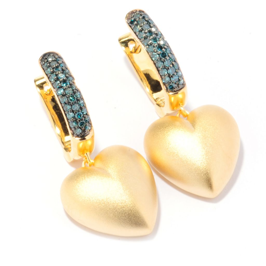 "134-748 - Diamond Treasures 1.25"" 14K Gold Embraced™ 0.24ctw Fancy Color Diamond Earrings"