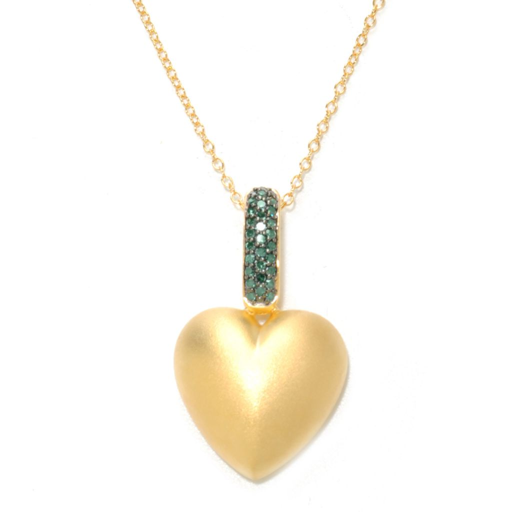 134-749 - Diamond Treasures 14K Gold Embraced™ 0.24ctw Fancy Color Diamond Heart Pendant