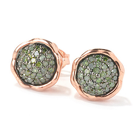 134-750 - Diamond Treasures 14K Rose Gold Embraced™ 0.23ctw Green Diamond ''Love'' Earrings