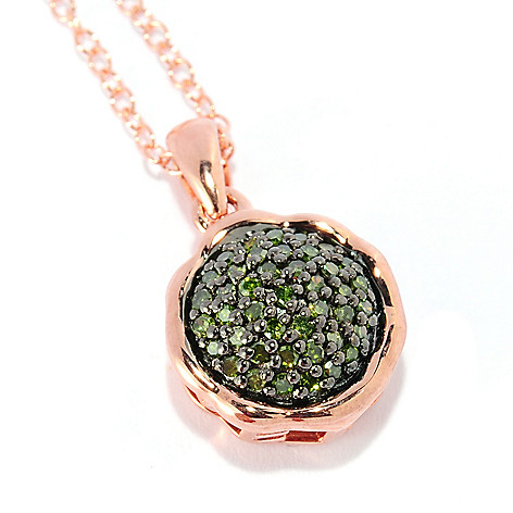 134-751 - Diamond Treasures 14K Rose Gold Embraced™ 0.21ctw Green Diamond ''Love'' Pendant