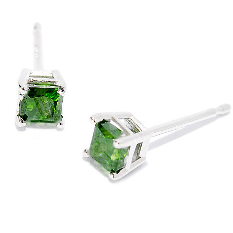 134-762 - Diamond Treasures 14K White Gold 0.50ctw Square Fancy Color Diamond Stud Earrings