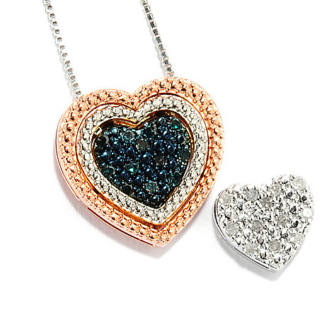 134-764 - Diamond Treasures 0.20ctw White & Blue Diamond Interchangeable Heart Pendant