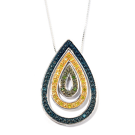 134-767 - Diamond Treasures Set of Three 0.20ctw Diamond Teardrop Stack Pendants w/ Chain