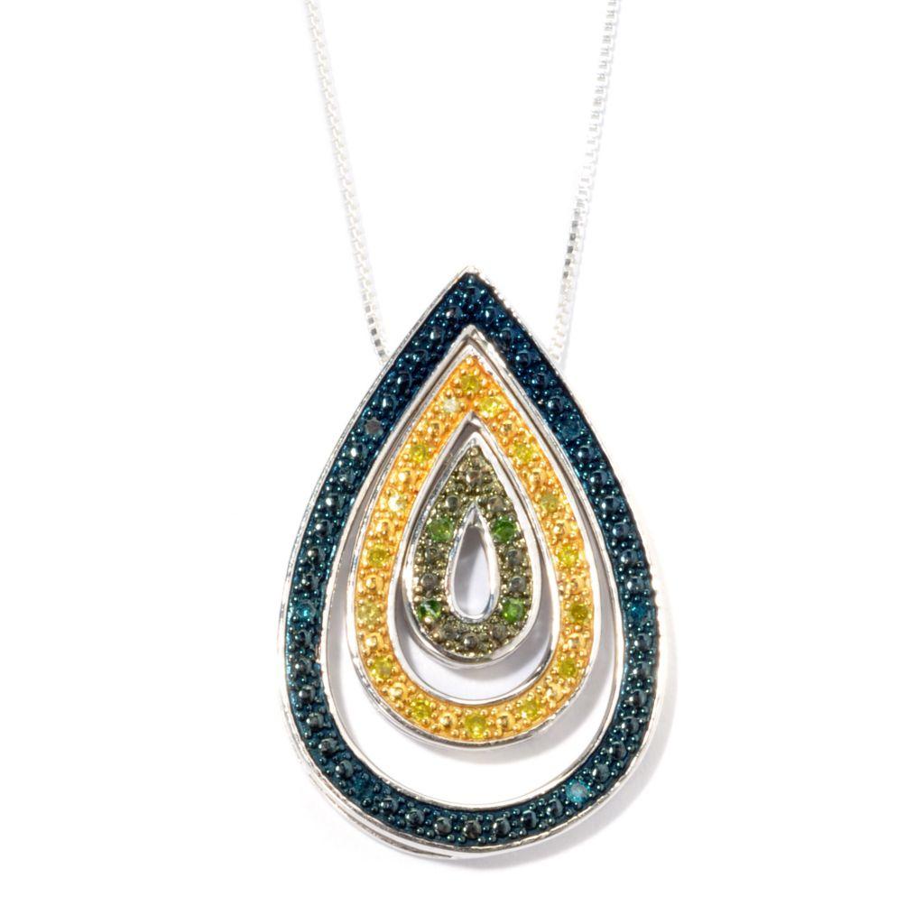134-767 - Diamond Treasures Set of Three 0.20ctw Diamond Teardrop Stack Pendants w/ Chain