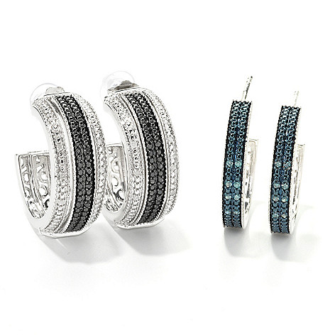 134-770 - Diamond Treasures Sterling Silver 0.33ctw Diamond Interchangeable C-Hoop Earrings