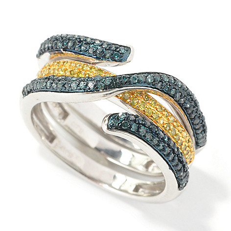 134-771 - Diamond Treasures Two-Piece 0.60ctw Blue & Yellow Diamond Interlacing Rings