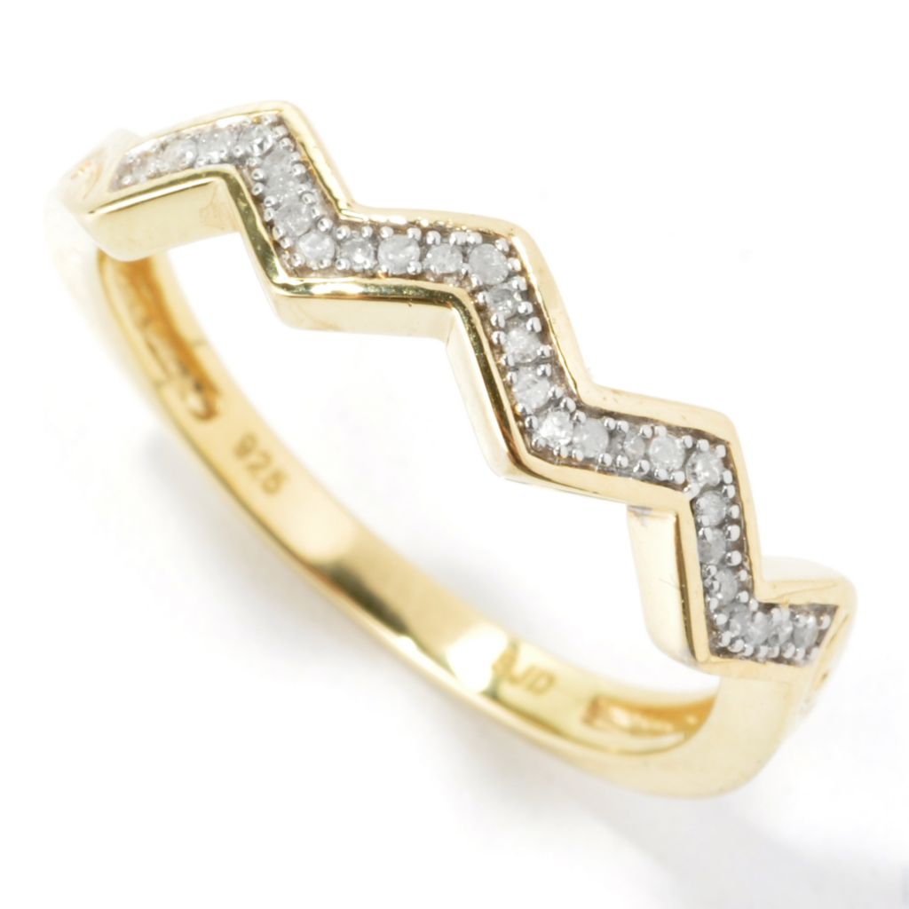 134-772 - Diamond Treasures 0.08ctw Diamond Pave Zigzag Band Ring