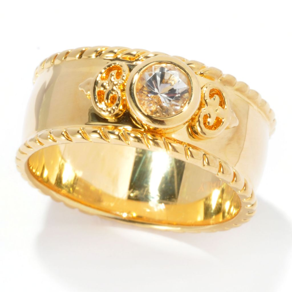 134-776 - Toscana Italiana Gold Embraced™ Bezel Set White Topaz Band Ring