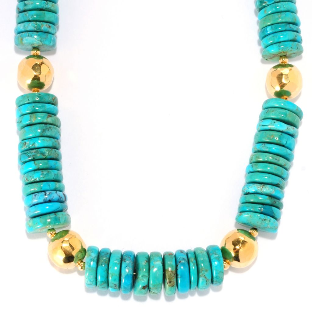 "134-777 - Toscana Italiana Gold Embraced™ 18"" Turquoise Disk & Hammered Bead Station Necklace"