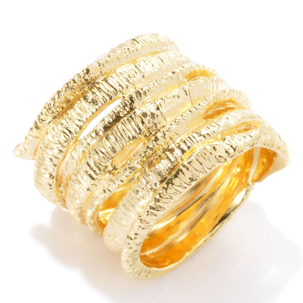 134-779 - Toscana Italiana Gold Embraced™ Polished & Brushed Freeform Wrap Cigar Band Ring