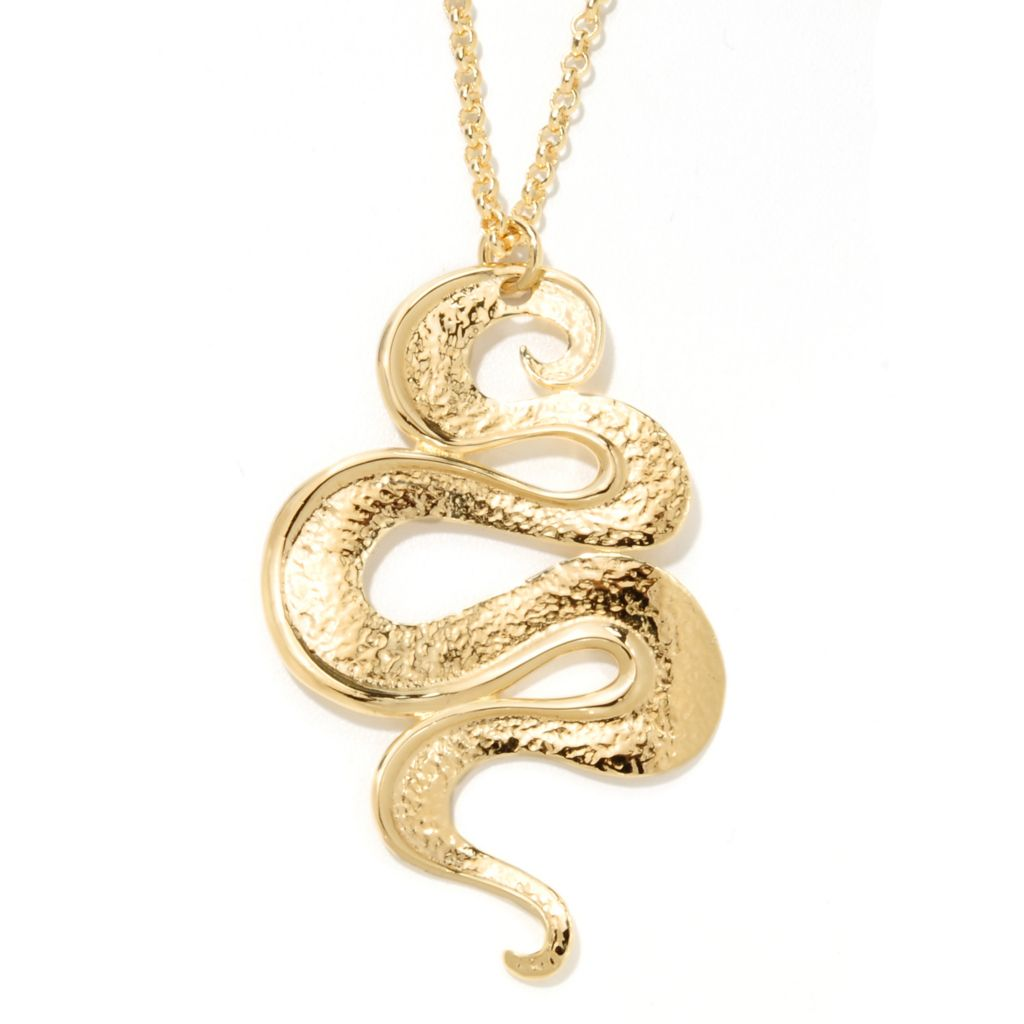 "134-780 - Toscana Italiana Gold Embraced™ 35.5"" Polished & Hammered Spiral Necklace"