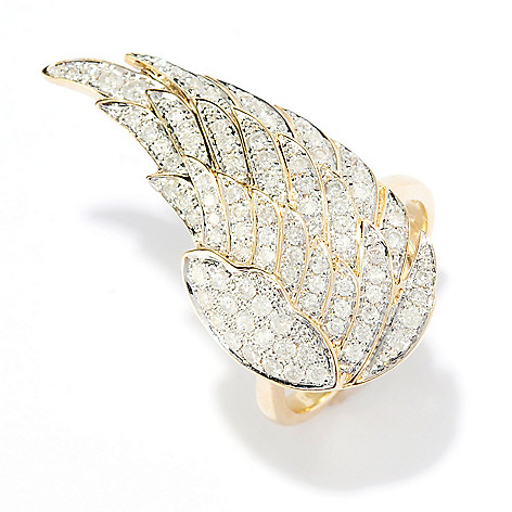 134-784 - Beverly Hills Elegance 14K Gold 1.00ctw Diamond Wing Ring