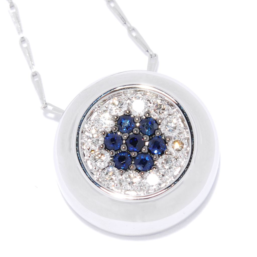 "134-786 - Beverly Hills Elegance 14K Gold Diamond & Gemstone Halo Circular Pendant w/ 18"" Chain"