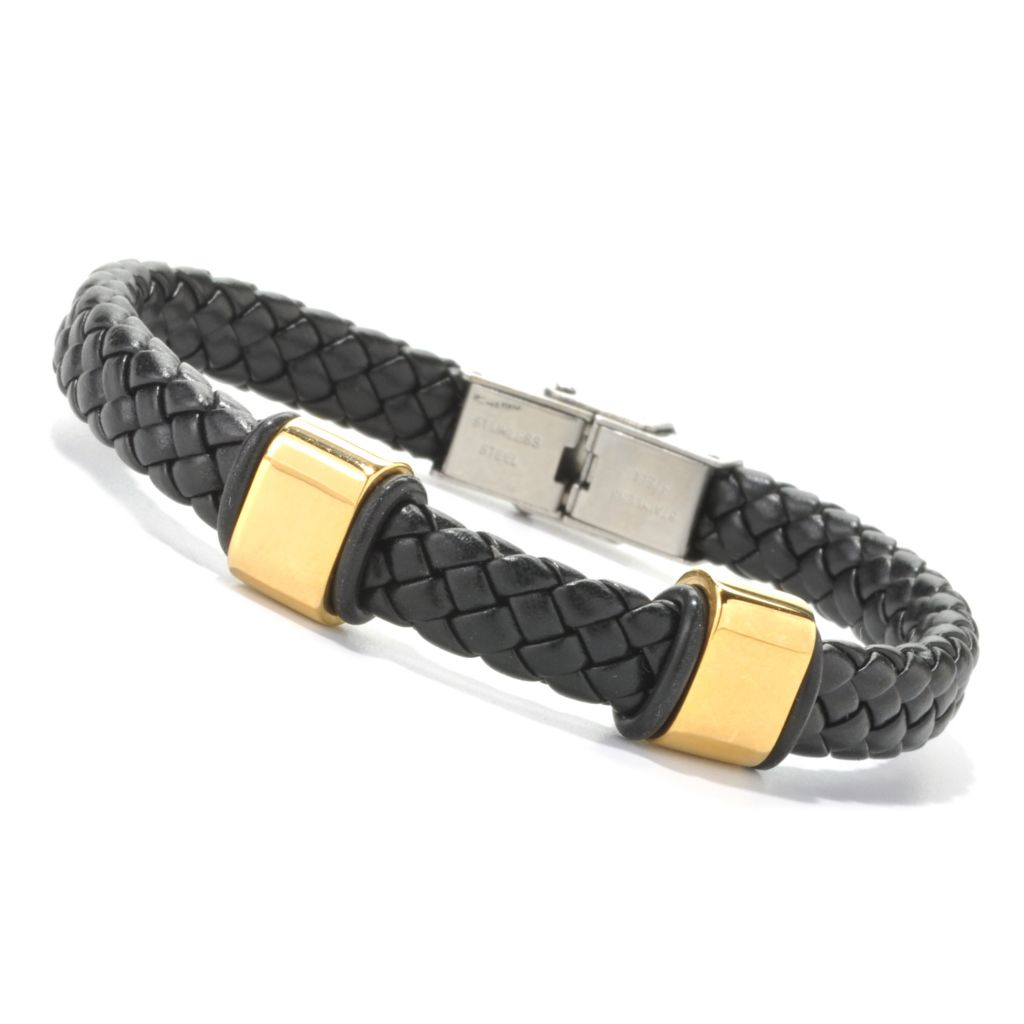 134-787 - Steeltime Men's Stainless Steel Braided Leather Bracelet