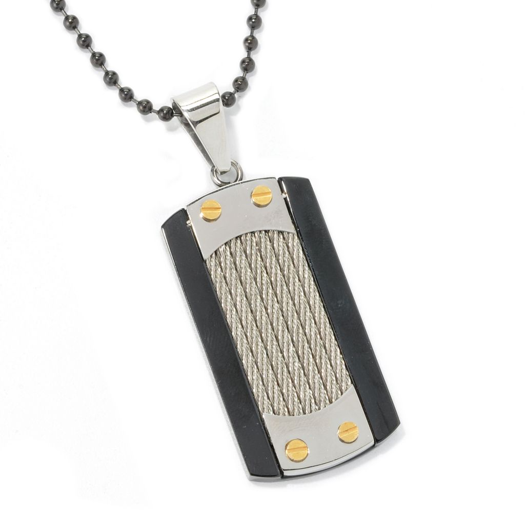 "134-789 - Steeltime Men's Tri-color Stainless Steel Dog Tag Pendant w/ 23.5"" Chain"