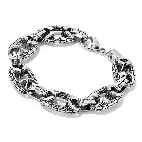 134-790 -  Steeltime Men's Stainless Steel Textured Fancy Link Bracelet