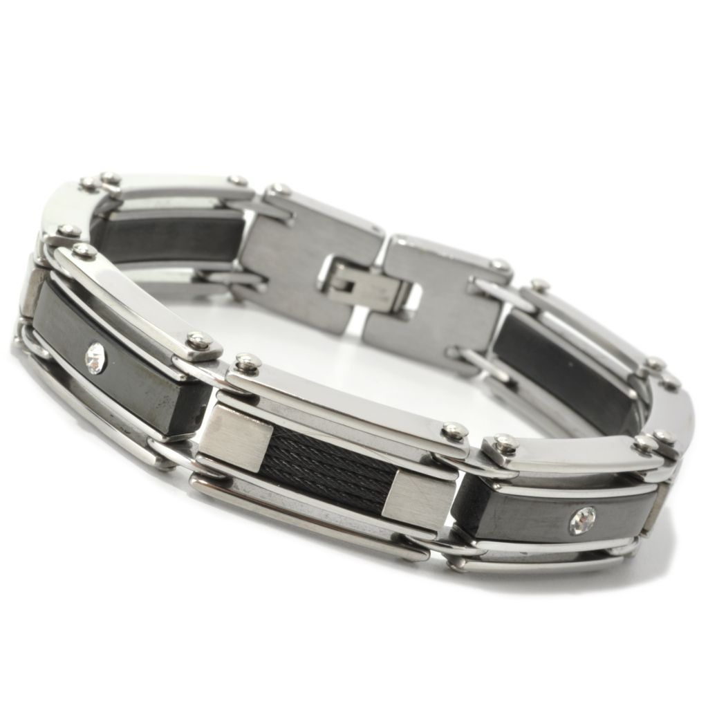 "134-791 - Steeltime Men's Two-tone Stainless Steel 8"" Simulated Diamond Link Bracelet"