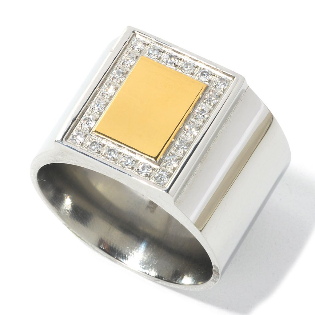 134-794 - Steeltime Men's Two-tone Stainless Steel Simulated Diamond Square Top Ring