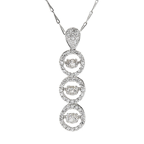 "134-796 - Beverly Hills Elegance® 14K White Gold 1.00ctw Diamond Heartbeat Pendant w/ 18"" Chain"