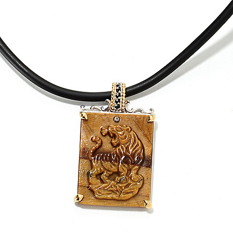 134-803 - Men's en Vogue II 29 x 22mm Carved Tiger's Eye, Black Spinel & Diamond Tiger Pendant w/ 22'' Cord