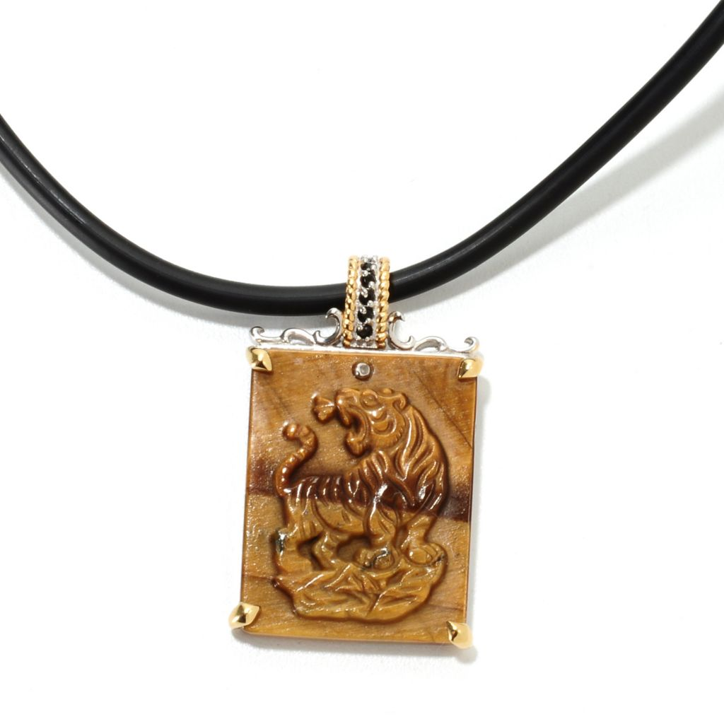 "134-803 - Men's en Vogue II 29 x 22mm Carved Tiger's Eye, Black Spinel & Diamond Tiger Pendant w/ 22"" Cord"