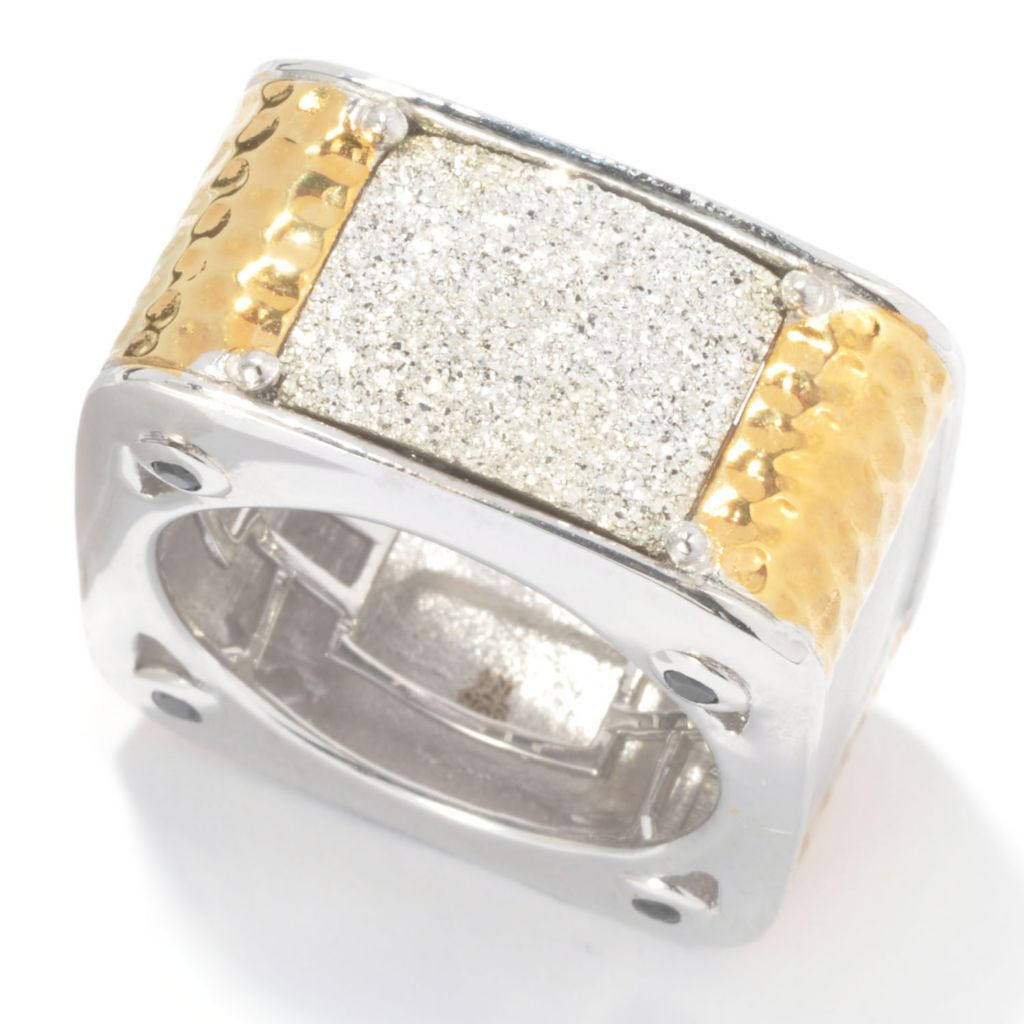 134-804 - Men's en Vogue II 14 x 11mm Silver Drusy & Black Spinel Square Band Ring
