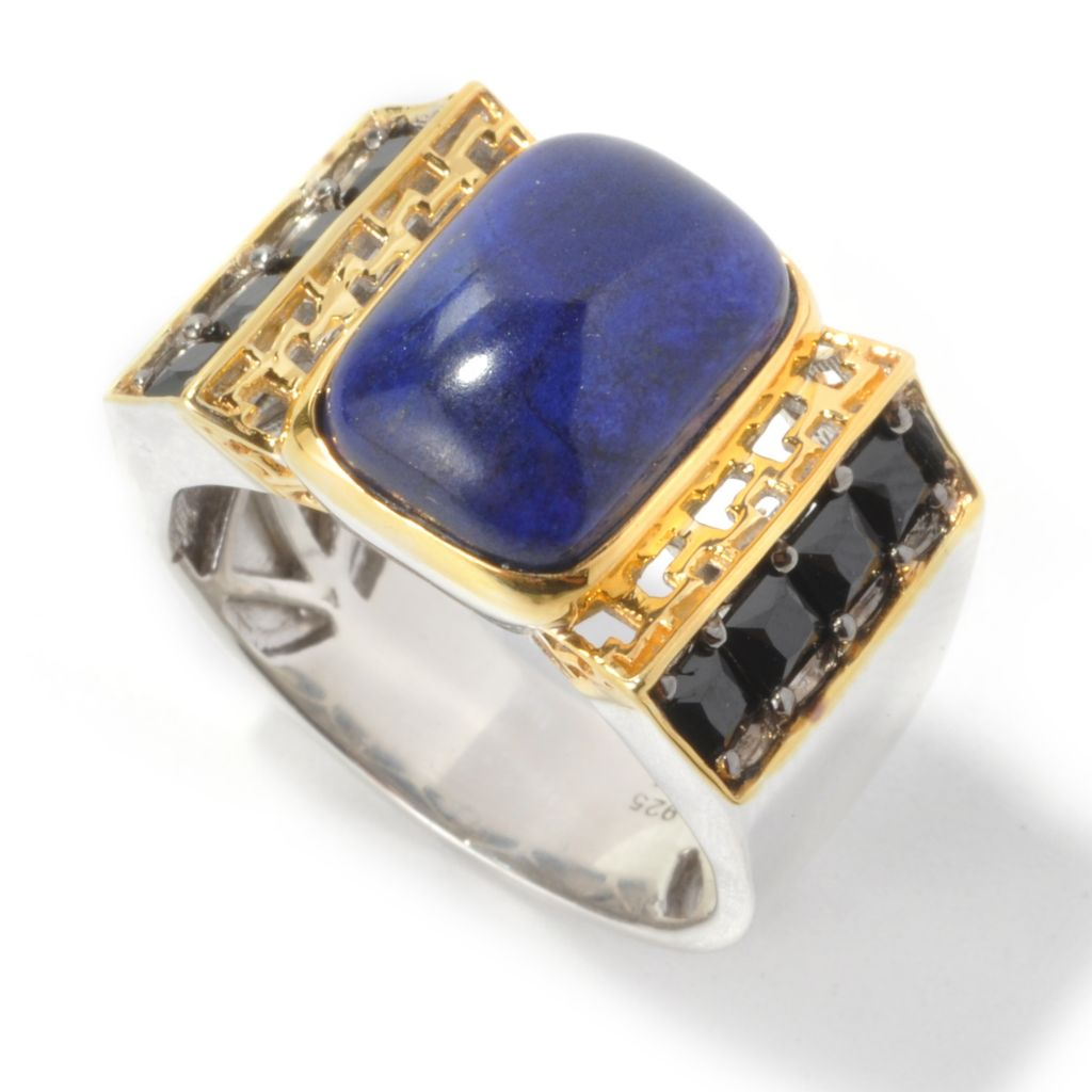 134-805 - Men's en Vogue II 14 x 10mm Cushion Shaped Lapis & Black Spinel Ring