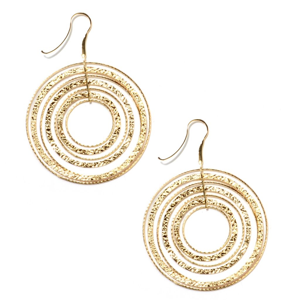 "134-813 - Toscana Italiana 18K Gold Embraced™ 3"" Front Facing Multi Layer Hoop Earrings"