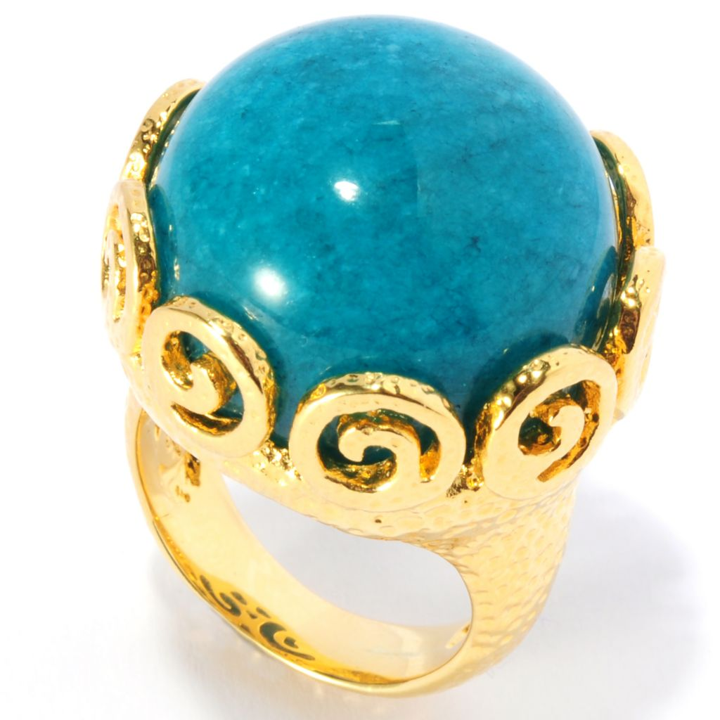 134-814 - Toscana Italiana 18K Gold Embraced™ 20mm Dyed Teal Agate Hammered Swirl Ring