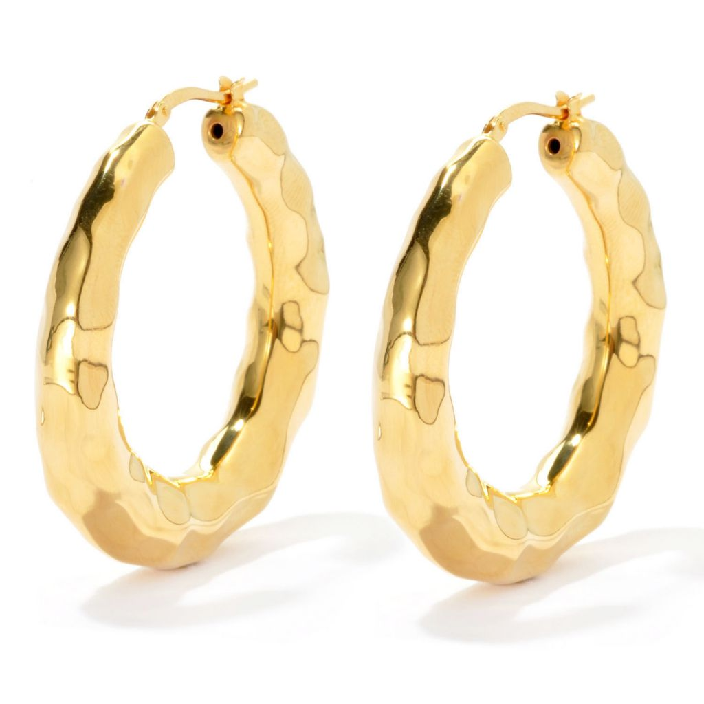 "134-815 - Toscana Italiana Gold Embraced™ 1.5"" Hammered Hoop Earrings"